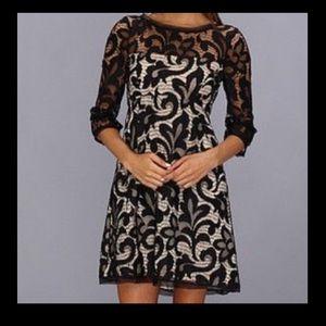 ABS by Allen Schwartz black lace cocktail dress.